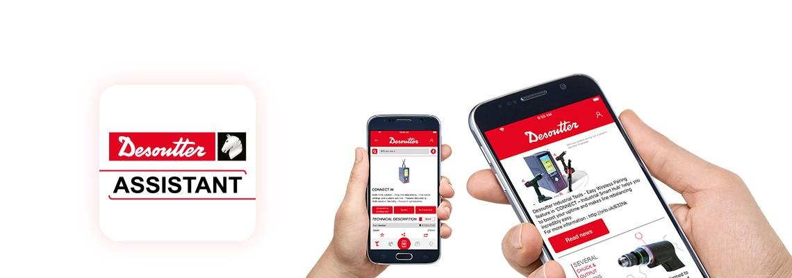 Baixe o  aplicativo Desoutter Assistant para manter-se atualizado com nossos produtos de montagem e furação e ter  acesso fácil a todos os nossos serviços