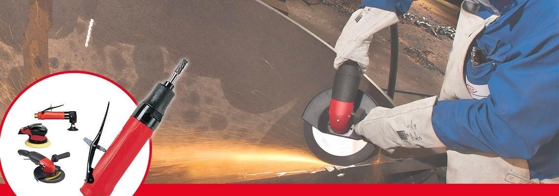 Você está procurando uma esmerilhadeira pneumática para rebolos cônicos? A Desoutter  Industrial Tools projetou esmerilhadeiras pneumáticas de alto desempenho. Peça uma demonstração!