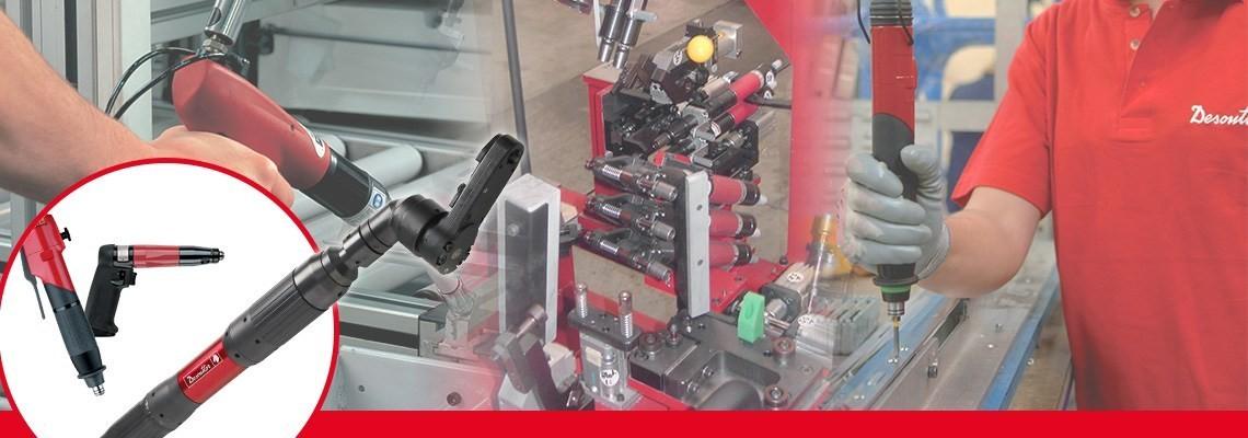 """A Desoutter Industrial Tools criou uma linha completa  de ferramentas de aperto  pneumáticas, incluindo as parafusadeiras retas tipo pistola não """"shut off""""  projetadas para precisão e qualidade."""